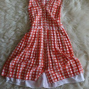Picnic styled dress, orange and white